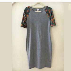 LulaRoe Solid Gray Floral Sleeves Julia Dress